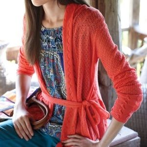 Anthro Knitted and Knotted Tie Waist Cardigan
